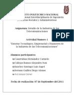 Evidencias Actividad 1 Unidad Tematica I. Entorno Tecnologico rial y Financiero de La Industria de Telecomunicaciones (Mexico)