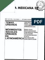 Movimientos Sociales Urbanos en Latinoamérica. (Revista Mexicana de Sociología)