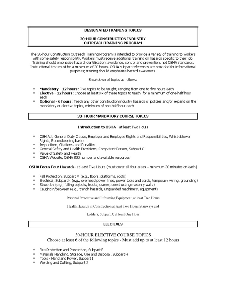 Designated Training Topics 30 Hrs Construction