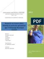 Research on Factors Affect Booking at Particular Gestational Age in Shinyanga Municipal Council
