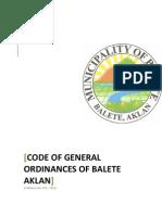 Code of General Ordinances of Balete, Aklan