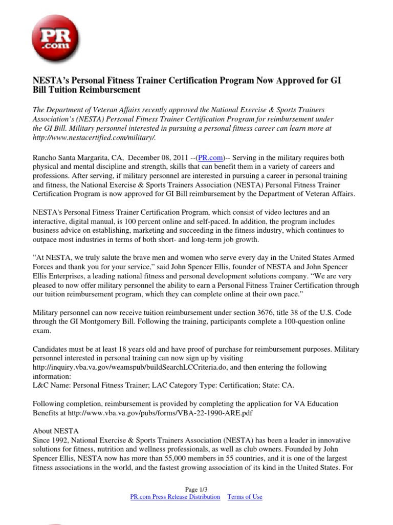 Nestas Personal Fitness Trainer Certification Program Now Approved