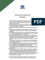 Festival Da Canção 2012 - Regulamento - RTP