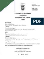 11-12-09 Mannheim Ruling for MMI Against Apple