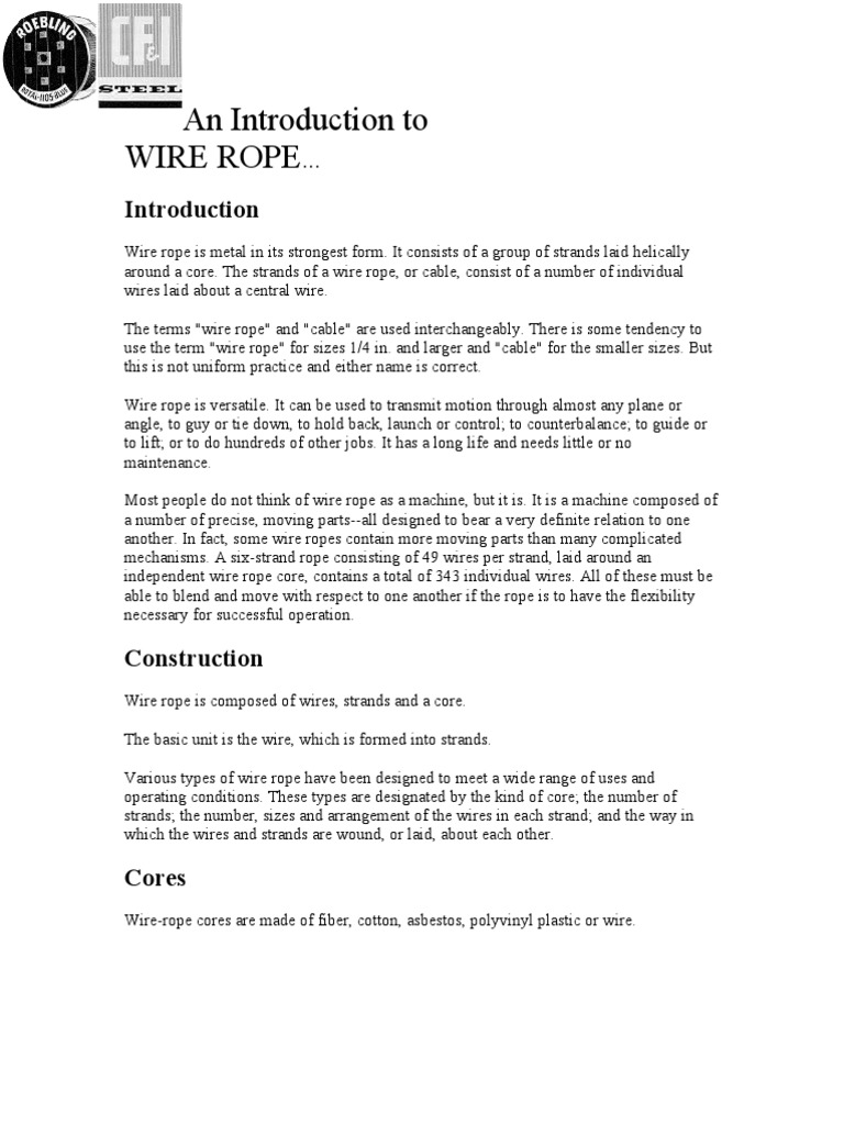 An Introduction to Wire Rope | Rope | Wire