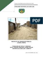 Creacion de Pista , Veredas y Areas Verdes CP Laura Caller Definitivo