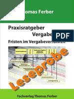 Praxisratgeber Vergaberecht - Fristen im Vergabeverfahren- Leseprobe