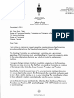 Letter from Sean Casey to Veterans Affairs Committee Chair Greg Kerr