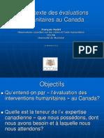 Le contexte des évaluations humanitaires au Canada