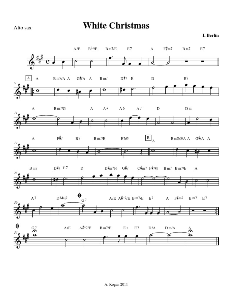 I M Dreaming Of A White Christmas Sheet Music Saxophone idea gallery