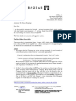 Pyne Gould Corp, Baobab letter to Board