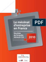 Le Mécenat d'entreprise en France 2010