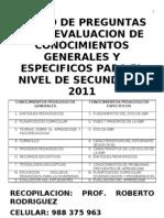 Banco de Preguntas Para Evaluacion de Conocimientos Generales 2011