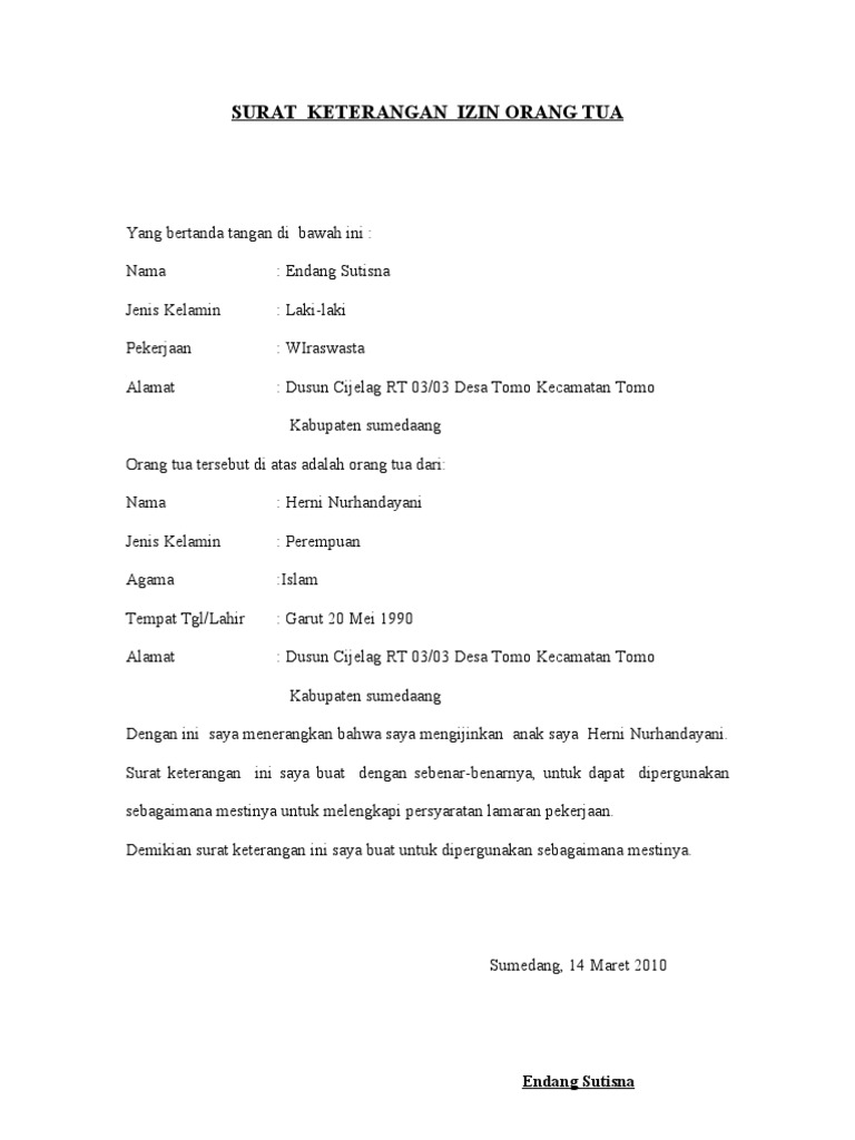 Contoh Surat Izin Orang Tua