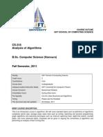 [Fall 2011] CS-318 - Analysis of Algorithms - Course Outline