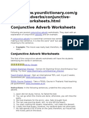 Conjunctive Adverb Worksheets Adverb Linguistics