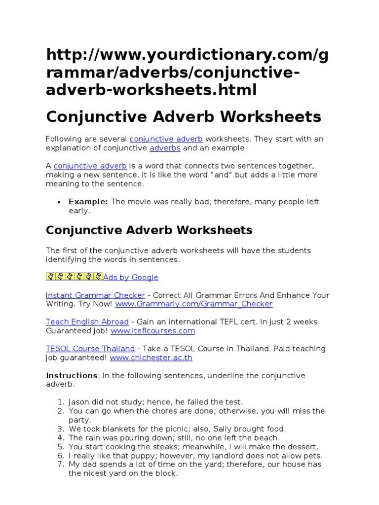 Conjunctive Adverb Worksheets Adverb – Conjunctive Adverbs Worksheets