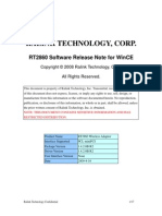 RT2860 Software Release Note For Windows CE
