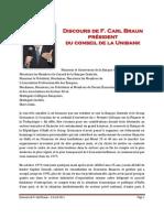 Discours de F. Carl Braun - 5 Avril 2011