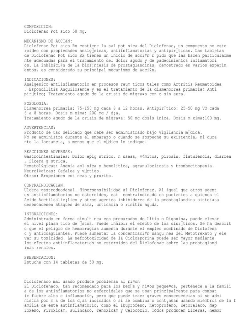 Diclofenac Potásico 50 mg. - Drogas antiinflamatorias no..