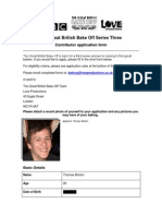 Bake Off Three Application Form