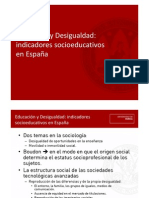 Educación y Desigualdad indicadores socioeducativos en España