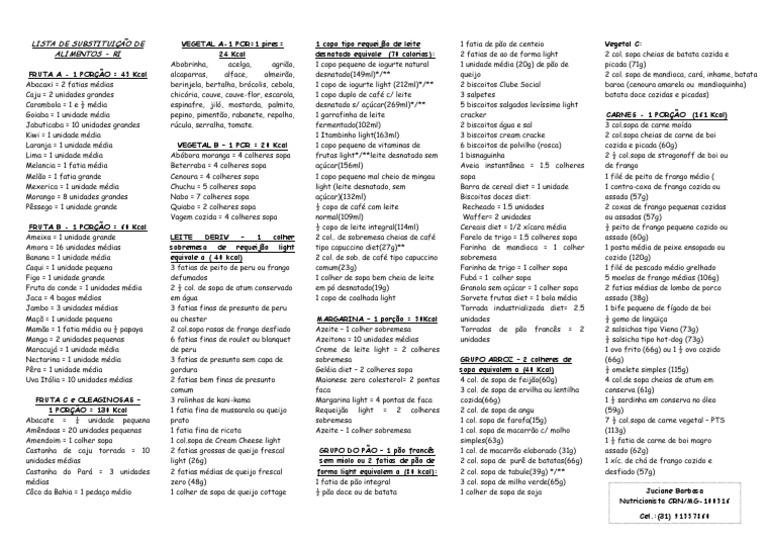 lista de substituicao de alimentos