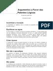 Alguns Argumentos a Favor das Patentes Lógicas, Ricardo da Costa Pinho