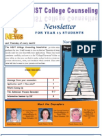 NIST College Counseling Newsletter for Year 13 Students 24 November 2011