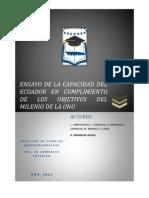 Ensayo de La Capacidad Del Ecuador en Cumplimiento de Los Objetivos Del Milenio de La Onu