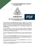 Comunicado XIV Gran Asamblea Del GOFMU