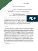 V.A. Vladimirov, H.K.Moffatt, P.A. Davidson and K.I. Ilin- On the stability of a rigid body in a magnetostatic equilibrium