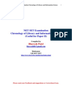 NET SET Examination Chronology of Library and Information Science