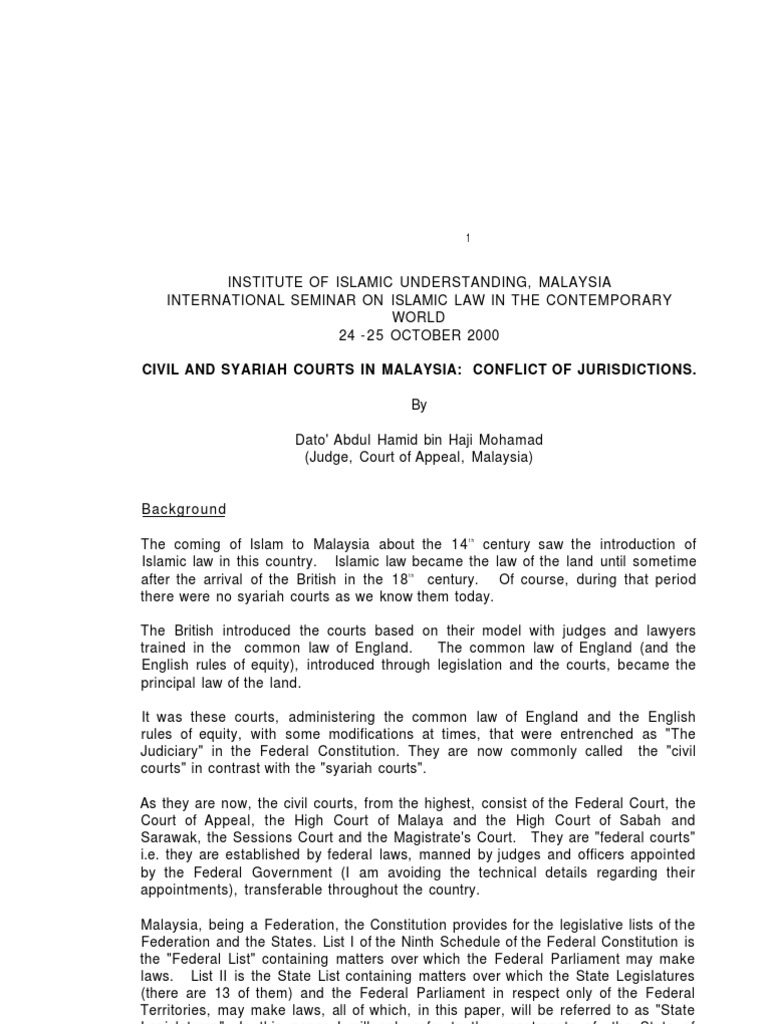 Civil And Syariah Courts In Malaysia Sharia Law Of The United States