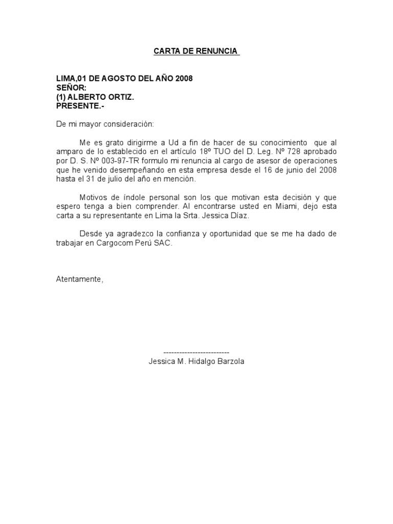 Encantador Plantilla De Renuncia Embellecimiento - Ejemplo De ...