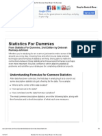 Statistics for Dummies Cheat Sheet