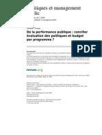 Pmp 1512 Vol 26 3 de La Performance Publique Concilier Evaluation Des Politiques Et Budget Par Programme