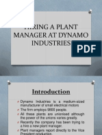 Hiring a Plant Manager at Dynamo Industries
