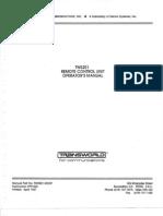TW5201 Remote Control Unit - Operators Manual