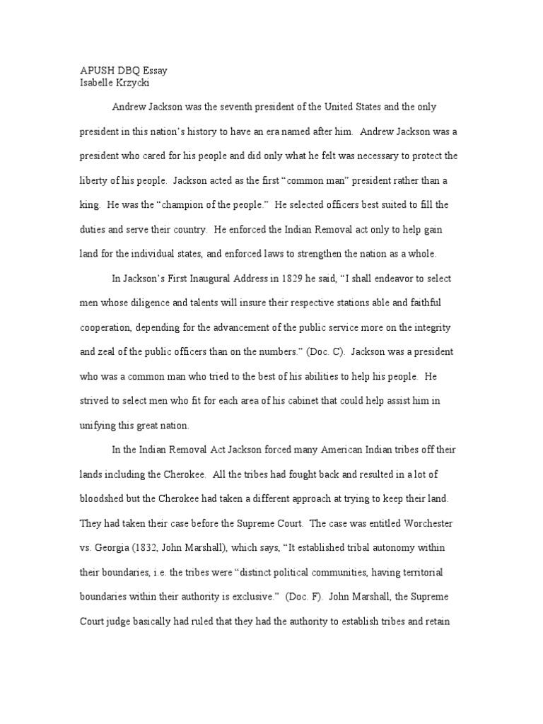 apush dbq essay jackson presidency andrew jackson cherokee