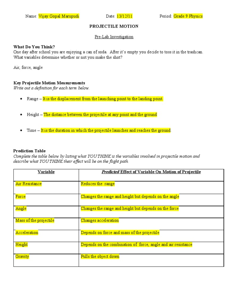 worksheet Projectile Motion Worksheet With Answers physics projectile lab force physical sciences