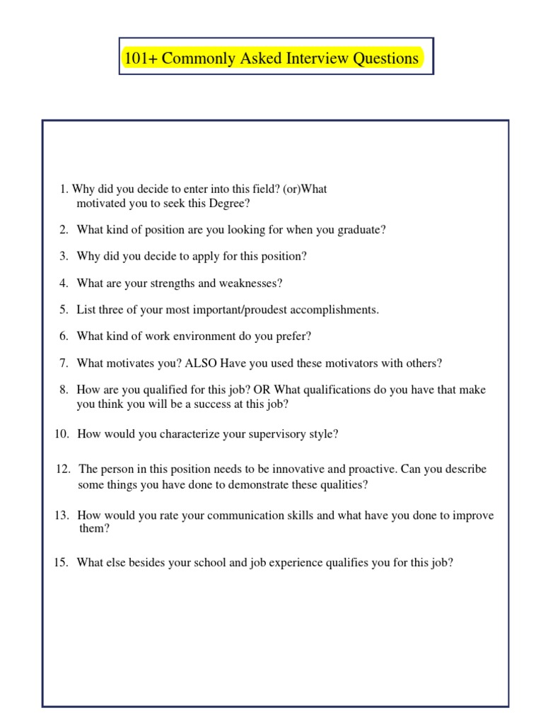 Commonly Asked Interview Questions | Library Science | Libraries