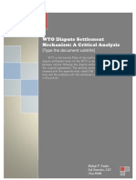 WTO Dispute Settlement Mechanism
