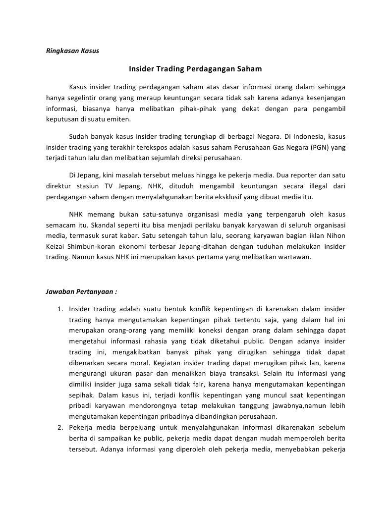 dimana pasar forex kasus insider trading di indonesia
