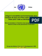 Intégrer la durabilité environnementale dans l'analyse de pays et le Plan-cadre des Nations Unies pour l'aide au développement - Note d'orientation (UNDG - 2009)