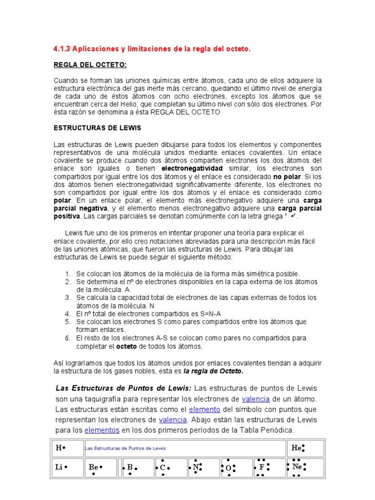 Aplicaciones Regla Del Octeto Liaison Chimique Liaison