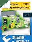 Accesorios Splits Tarifa PVP SalvadorEscoda