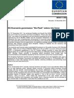 EU Economic Six Pack Enters Into Force