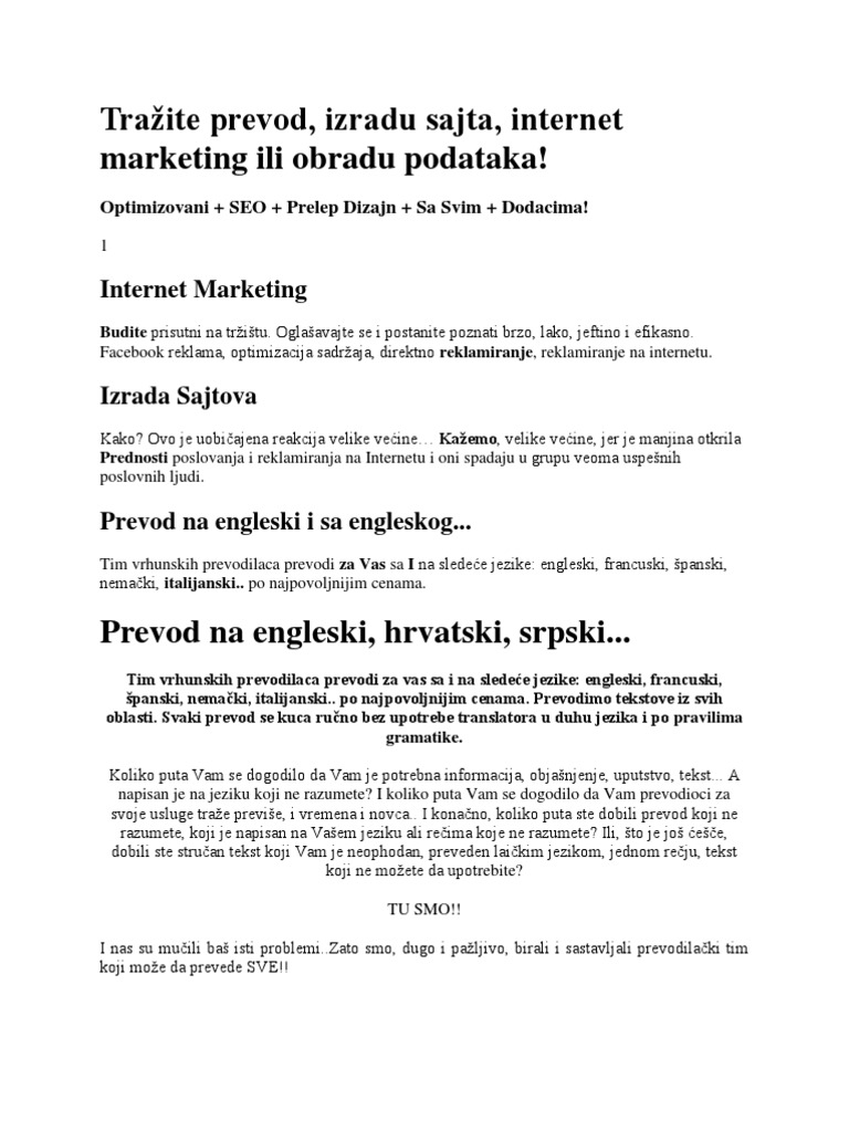 Trazite Prevod Izradu Sajta Internet Marketing Ili Obradu Podataka