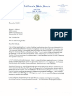 Senator Ted Lieu's Letter Responding to Lowe's Pull out from All American Muslim